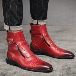 Red Studs Punk Rock Vintage Mens Chelsea Boots Shoes