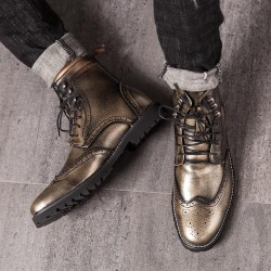 Silver Wingtip Punk Rock Vintage Mens Chelsea Military Boots Shoes