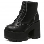 Black Thick Sole Platforms Chunky Lace Up Ankle Punk Rock Boots