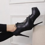 Black Lace Up Oxfords Platforms Stiletto High Heels Ankle Boots Shoes