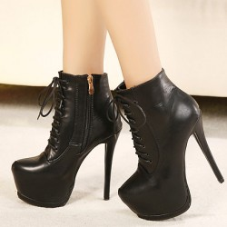 Black Buckle Straps Lace Up Platforms Stiletto High Heels Ankle Boots Shoes