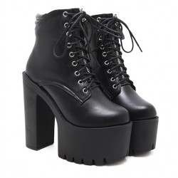 Black Lace Up Gothic Platforms Punk Rock Chunky Block Heels Boots Shoes