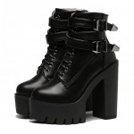 Black Lace Up Platforms Punk Rock Chunky Block High Heels Boots Shoes