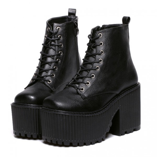 Black Rider Platforms Punk Rock Lace Up Chunky Heels Boots Creepers Shoes