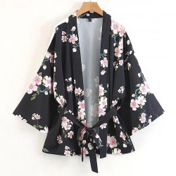 Black Vintage Flowers Retro Batwing Kimono Cardigan Outer Wear