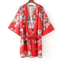 Red Florals Oriental Pattern Satin Long Sleeves Kimono Cardigan Outer Wear