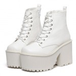 White Patent Lace Up Platforms Punk Rock Chunky Heels Boots Creepers Shoes