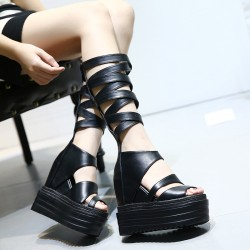 Black Straps Gladiator Knee Punk Rock Gothic Creeper Platforms Wedges Sandals Shoes