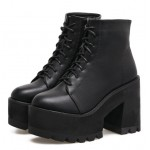 Black Military Ankle Chunky Sole Block High Heels Platforms Boots Shoes
