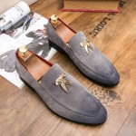 Grey Suede Mens Gold Horns Tassels Flats Loafers Dappermen Dapper Dress Shoes