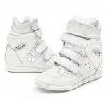 White Hollow Out High Top Velcro Tapes Hidden Wedges Sneakers Shoes