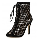 Black Rhombus Hollow Out Sexy Peep Toe Gladiator Stiletto High Heels Sandals Shoes