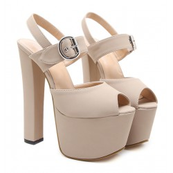 Beige Peeptoe Platforms Block Super High Heels Sandals Shoes