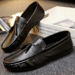 Black Tassels Mens Casual Loafers Flats Shoes