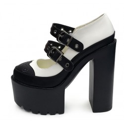 Black White Punk Rock Mary Jane Chunky Sole Block High Heels Platforms Pumps Shoes