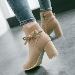 Khaki Suede Point Head Ankle High Heels Boots Shoes