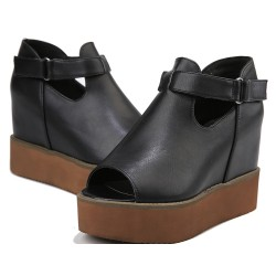Black Brown Gladiator Peep Toe Platforms Wedges Sandals Shoes