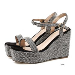 Black Silver Diamantes Thin Straps Bling Bling Bridal Platforms Sandals Shoes