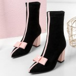 Black Suede Pointed Head Pink Bow Mid High Heels Boots Shoes