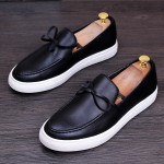 Black White Bow Baroque Mens Thick Sole Oxfords Loafers Dappermen Dress Shoes
