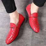Red Patent Spikes Studs Punk Rock Mens Loafers Flats Dress Shoes