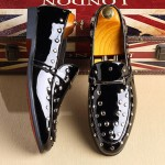 Black Patent Spikes Studs Punk Rock Mens Loafers Flats Dress Shoes