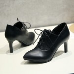 Black Lace Up Point Head Stiletto High Heels Oxfords Womens Dress Shoes