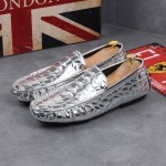 Silver Metallic Patent Slip On Loafers Dress Shoes Flats