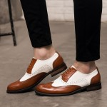 Brown White Vintage Leather Baroque Lace Up Mens Oxfords Dapper Man Shoes