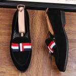 Black Suede Bow Mens Oxfords Loafers Dress Shoes Flats