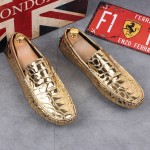 Gold Metallic Patent Slip On Loafers Dress Shoes Flats
