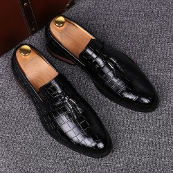 Black Patent Croc Leather Tassels Mens Oxfords Loafers Dress Dapper man Shoes Flats