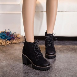 Black Suede Grunge Cleated Sole Lace Up Ankle Block High Heels Rider Combat Boots Shoes