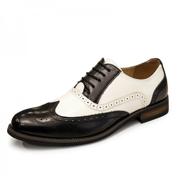 Black White Vintage Leather Baroque Lace Up Mens Oxfords Dapper Man Shoes