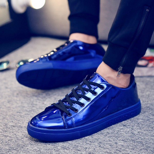 Blue Royal Metallic Shiny Leather Lace Up Shoes Mens Sneakers