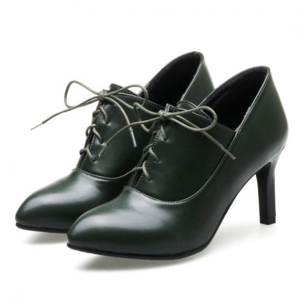 Green Dark Lace Up Point Head Stiletto High Heels Oxfords Womens Dress Shoes