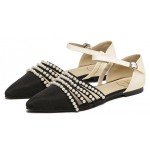 Black Satin Pearls Beads Point Head Ankle Straps Flats Evening Sandals Shoes
