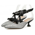 Silver Glitter Black Bows Embellished Point Head Kitten Heels Bridal Sandals Shoes