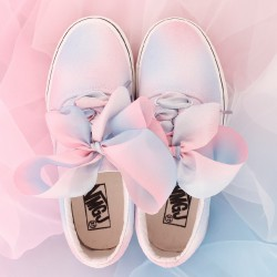 Blue Pink Pastel Color Ribbon Giant Bow Lace Up Sneakers Flats Shoes