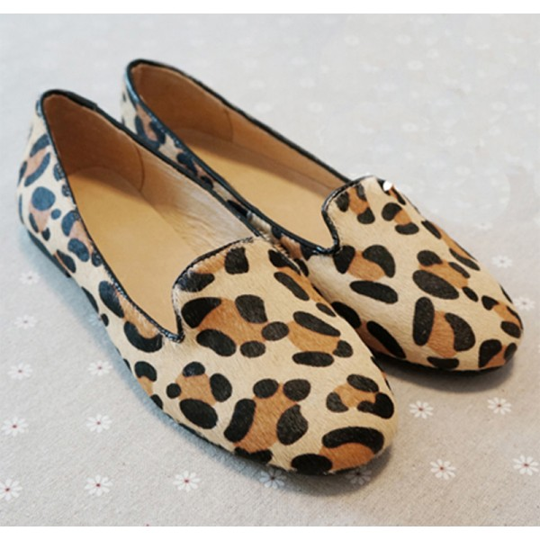 Brown Leopard Suede Point Head Loafers Flats Shoes