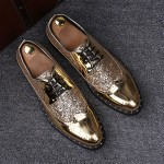 LAST PAIR- Gold Glitter Baroque Lace Up  Mens Oxfords Dress Shoes sz42