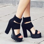 Black Suede Straps Block Chunky Sole High Heels Platforms Sandals Shoes