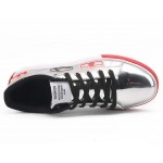 Silver Metallic Patches Lace Up Street Mens Sneakers Shoes