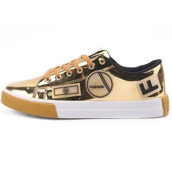 Gold Metallic Patches Lace Up Street Mens Sneakers Shoes
