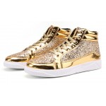 Gold Glittering Sparkle Metallic Lace Up High Top Mens Sneakers Shoes