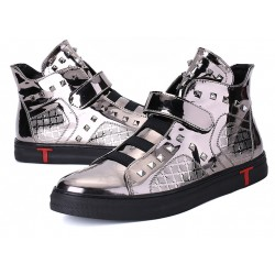Grey Mirror Metallic Studs Punk Rock High Top Mens Sneakers Shoes