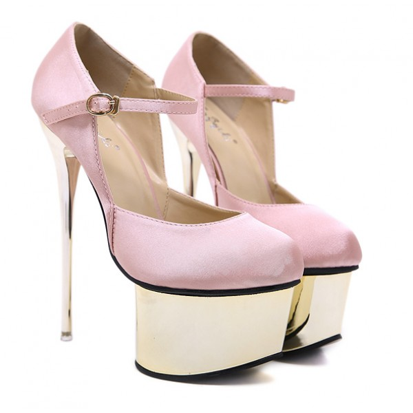 Pink Satin Gold Platforms Mary Jane Bridal Stiletto Super High Heels Shoes
