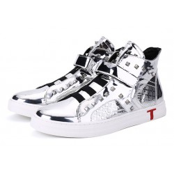 Silver Mirror Metallic Studs Punk Rock High Top Mens Sneakers Shoes