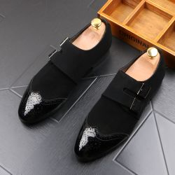 Black Blunt Head Buckle Oxfords Flats Loafers Dappermen Dapper Mens Dress Shoes