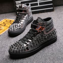 Grey Patent Glitter Spikes Punk Rock Mens High Top Lace Up Sneakers Shoes